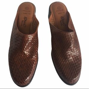 ROMANO Chestnut Woven Leather Heeled Mules